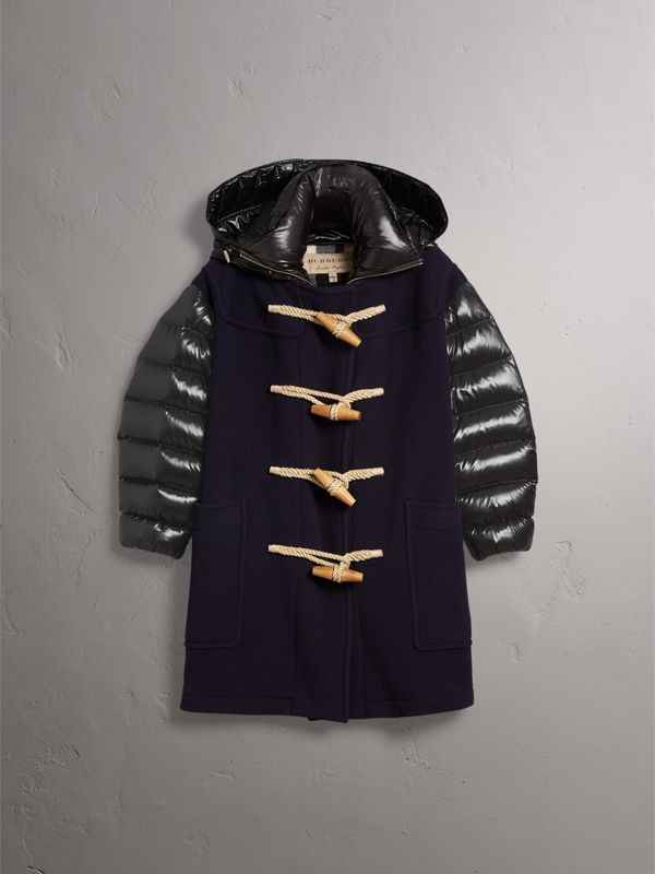 Detachable Hood Down-filled Sleeve Wool Blend Duffle Coat in Navy - Women | Burberry - cell image 3