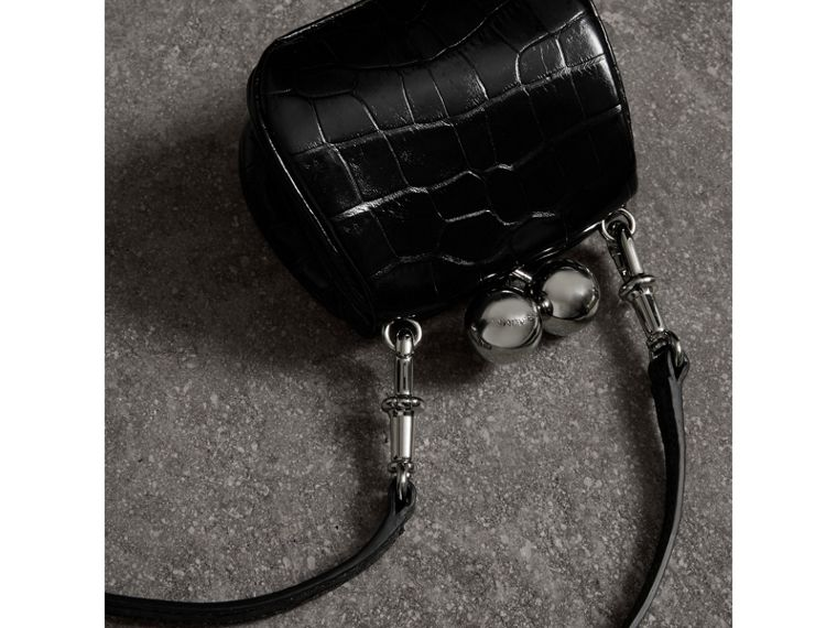 Mini Alligator Metal Frame Clutch Bag in Black - Women | Burberry - cell image 4