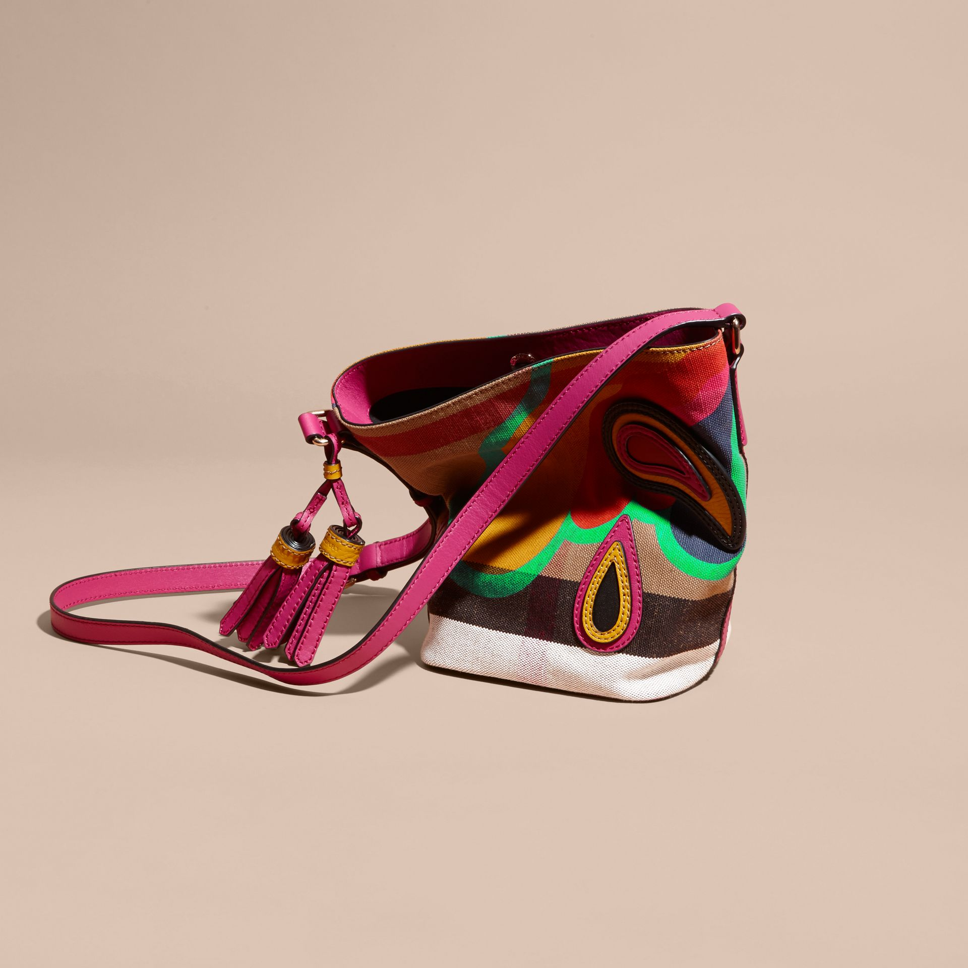 Brilliant fuchsia The Small Ashby in Appliquéd Canvas Check and Leather - gallery image 7