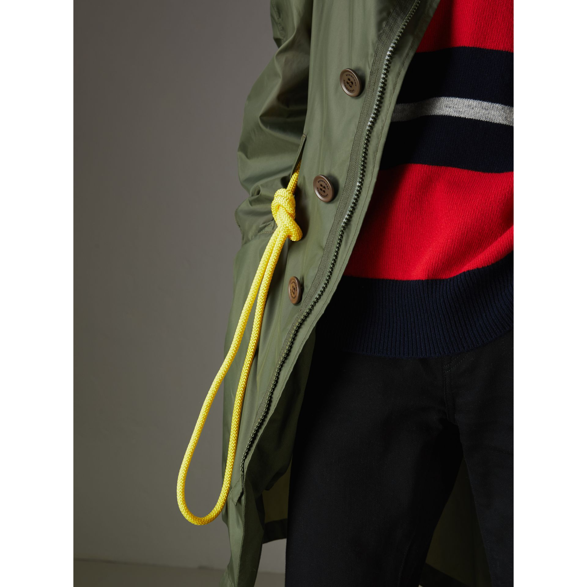 Oversized Technical Parka in Light Olive - Men | Burberry - gallery image 4