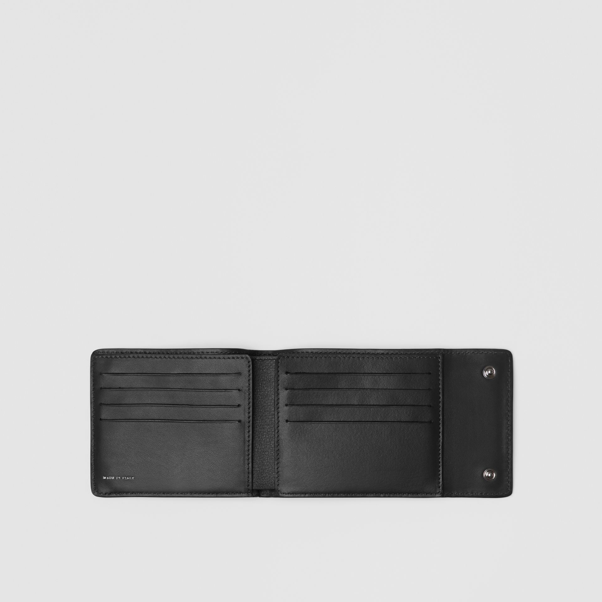Press-stud Leather International Bifold Wallet in Black - Men | Burberry United States - gallery image 2