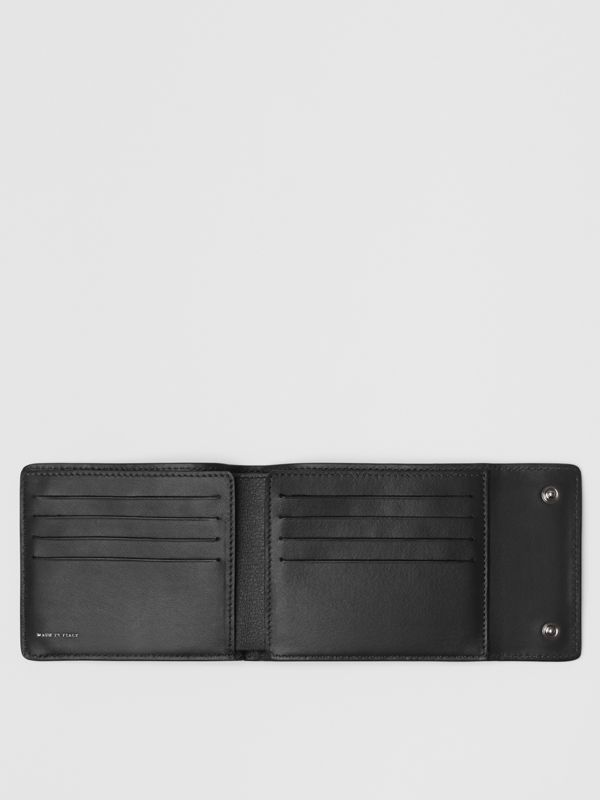 Press-stud Leather International Bifold Wallet in Black - Men | Burberry United States - cell image 2