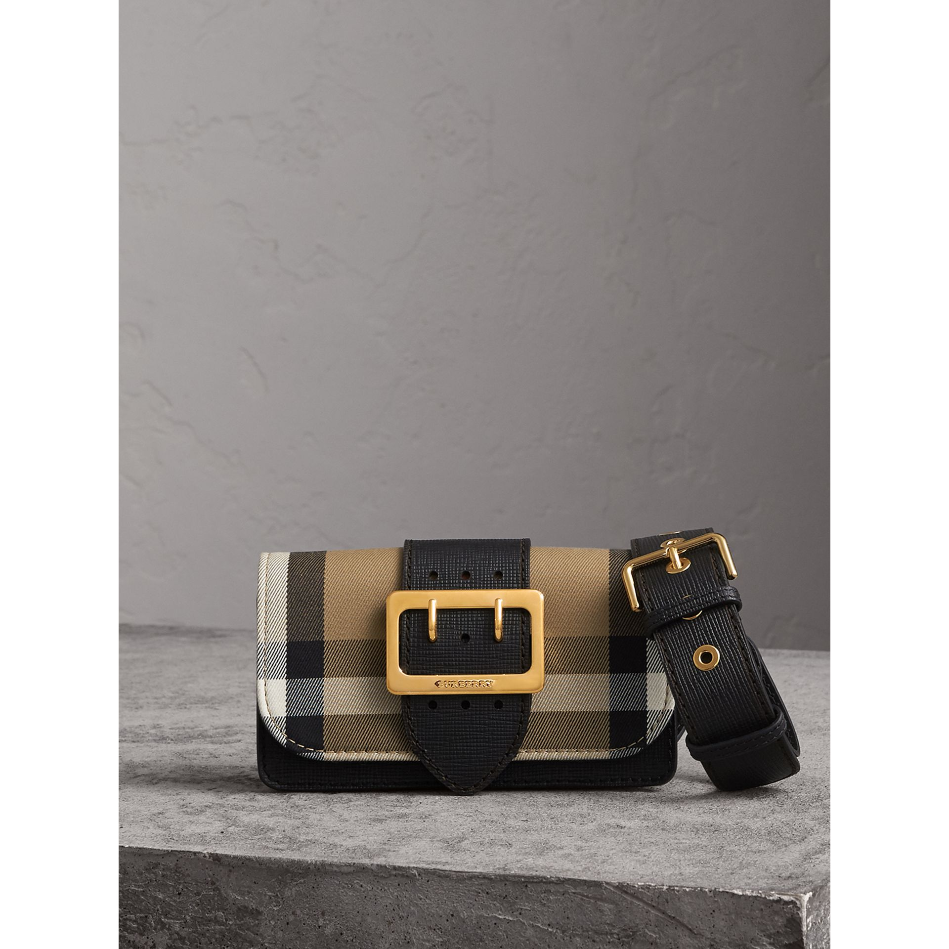 The Small Buckle Bag in House Check and Leather in Black - Women | Burberry Canada - gallery image 1