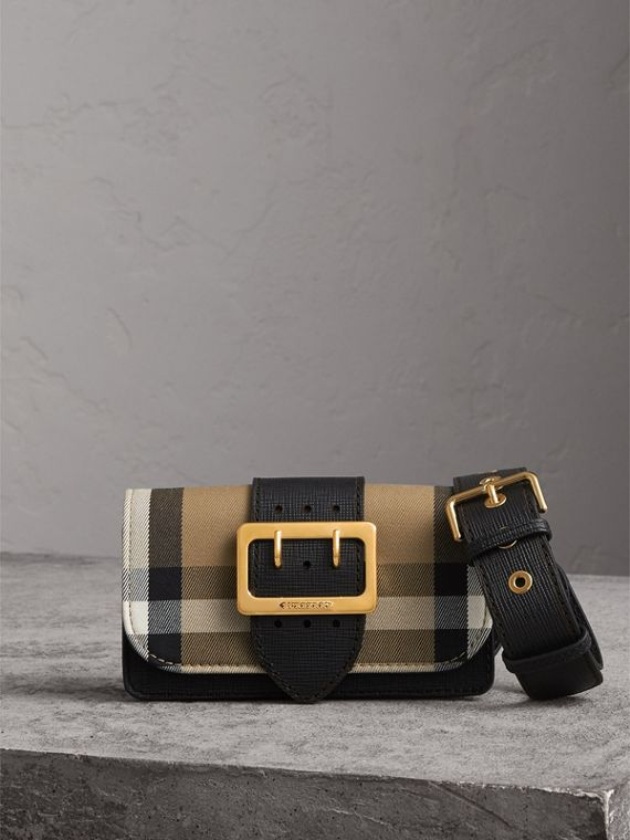 The Small Buckle Bag in House Check and Leather in Black - Women | Burberry Canada