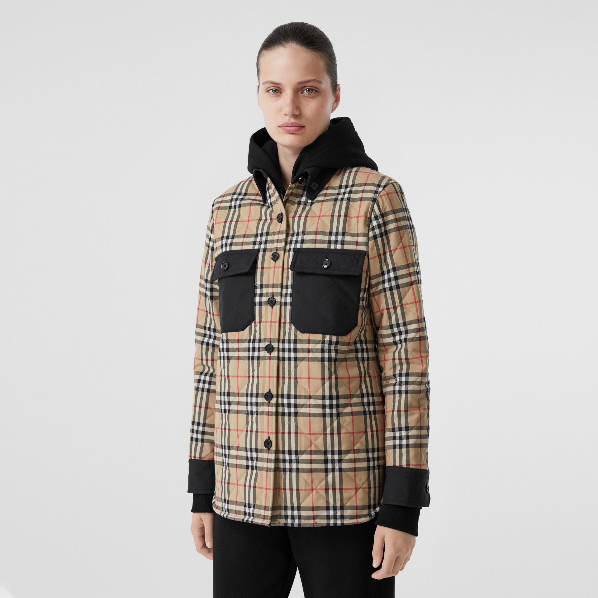 Vintage Check Wool Flannel Overshirt in Archive Beige - Women | Burberry United States - gallery image 5