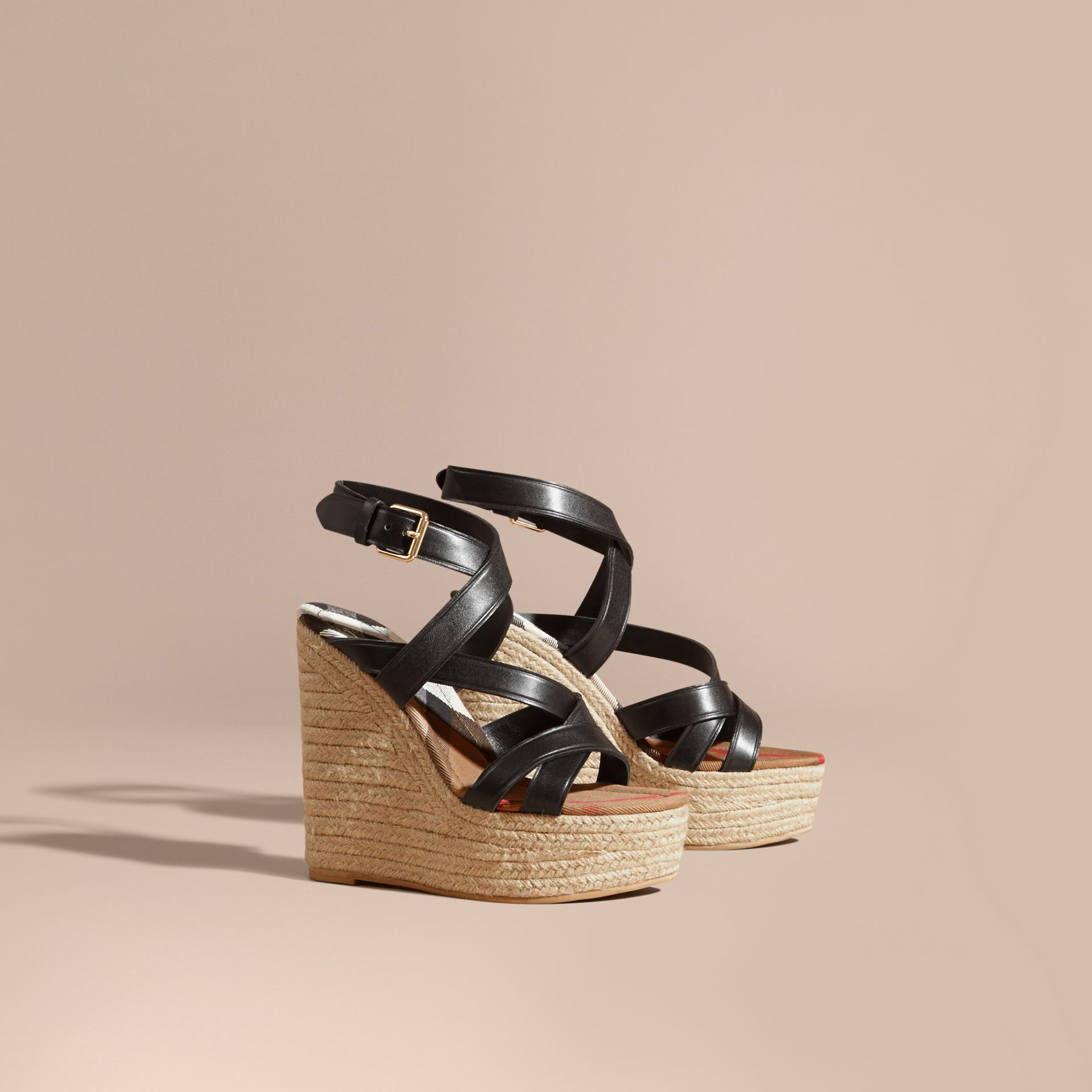 Leather Platform Espadrille Wedge Sandals in Black - Women | Burberry Canada - gallery image 1