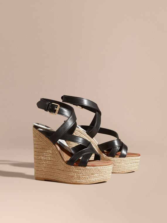Leather Platform Espadrille Wedge Sandals in Black