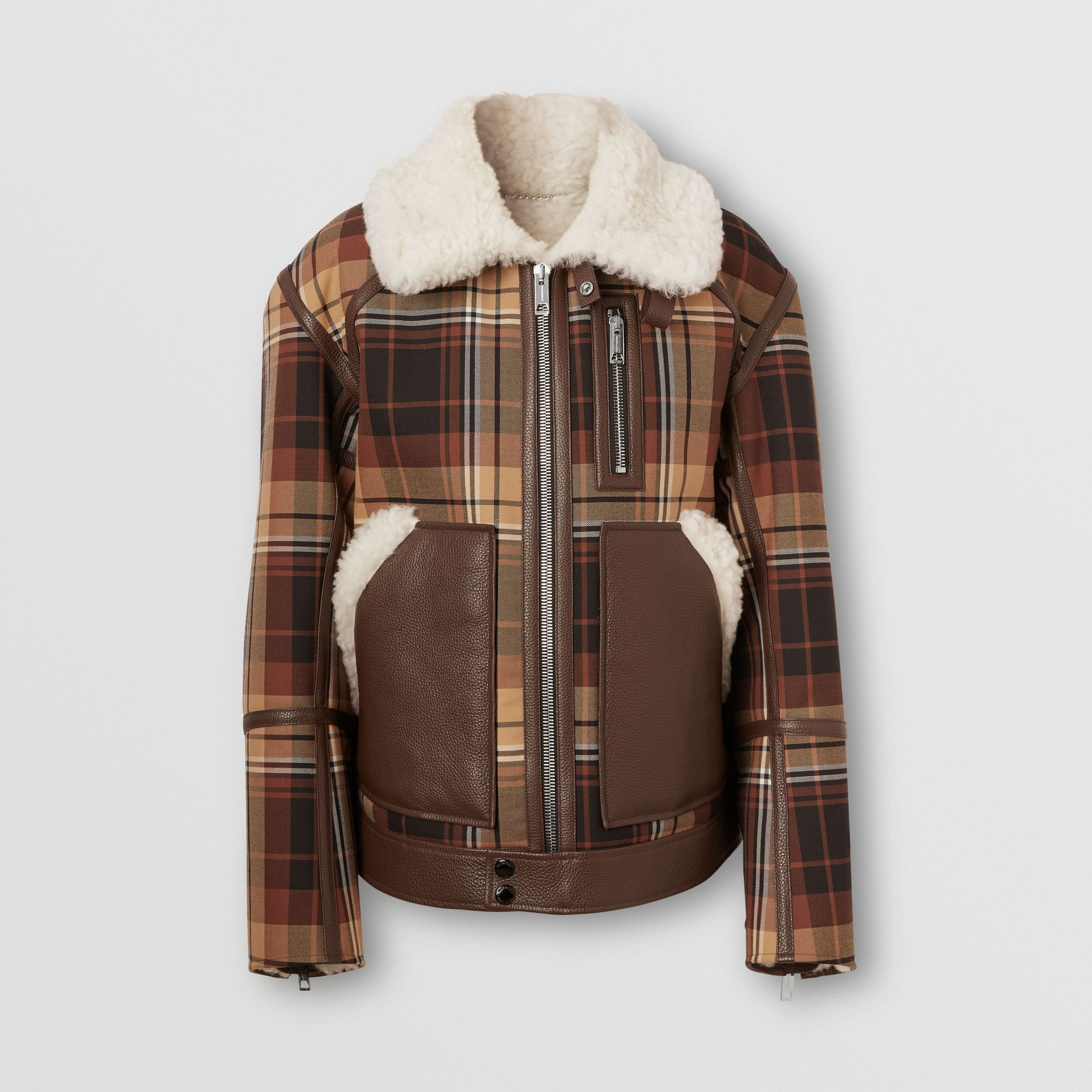 Leather Trim Check Wool and Shearling Flight Jacket in Orange/black - Men | Burberry - 4