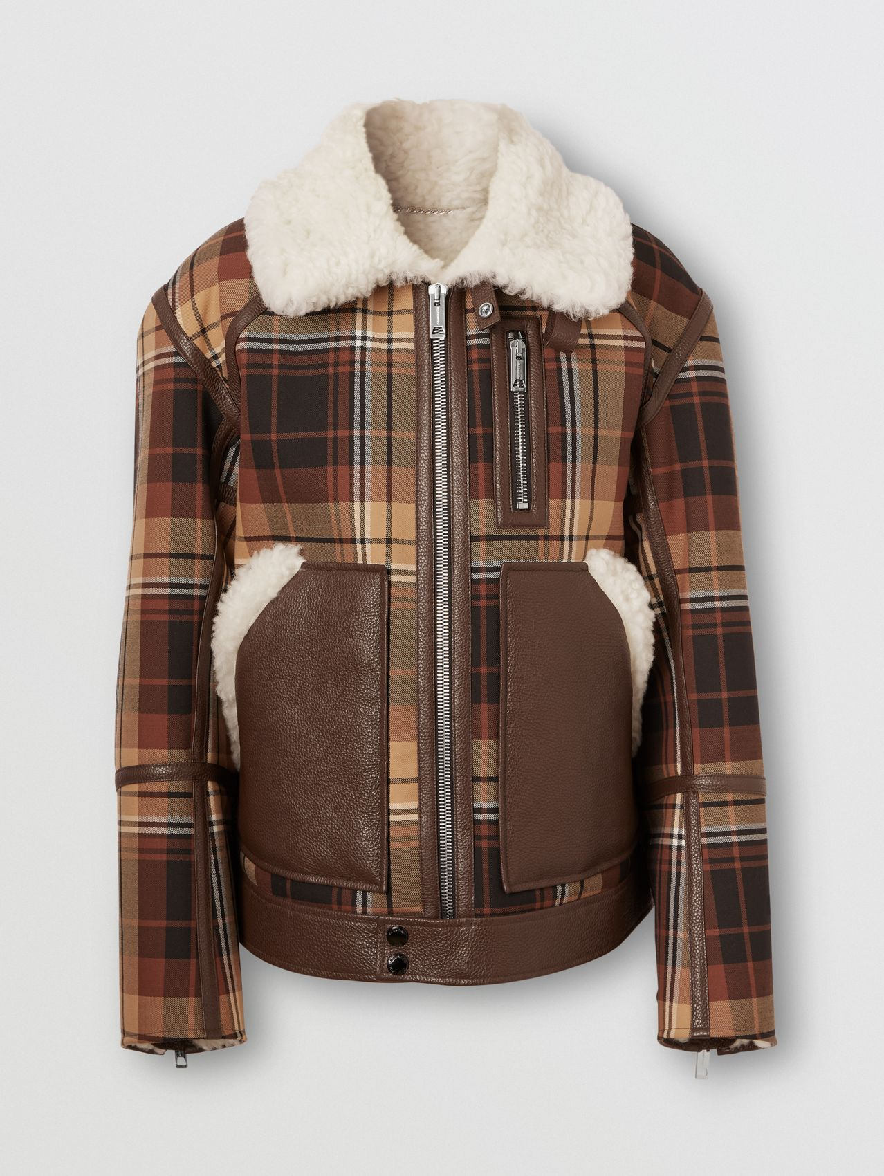 Leather Trim Check Wool and Shearling Flight Jacket in Orange/black