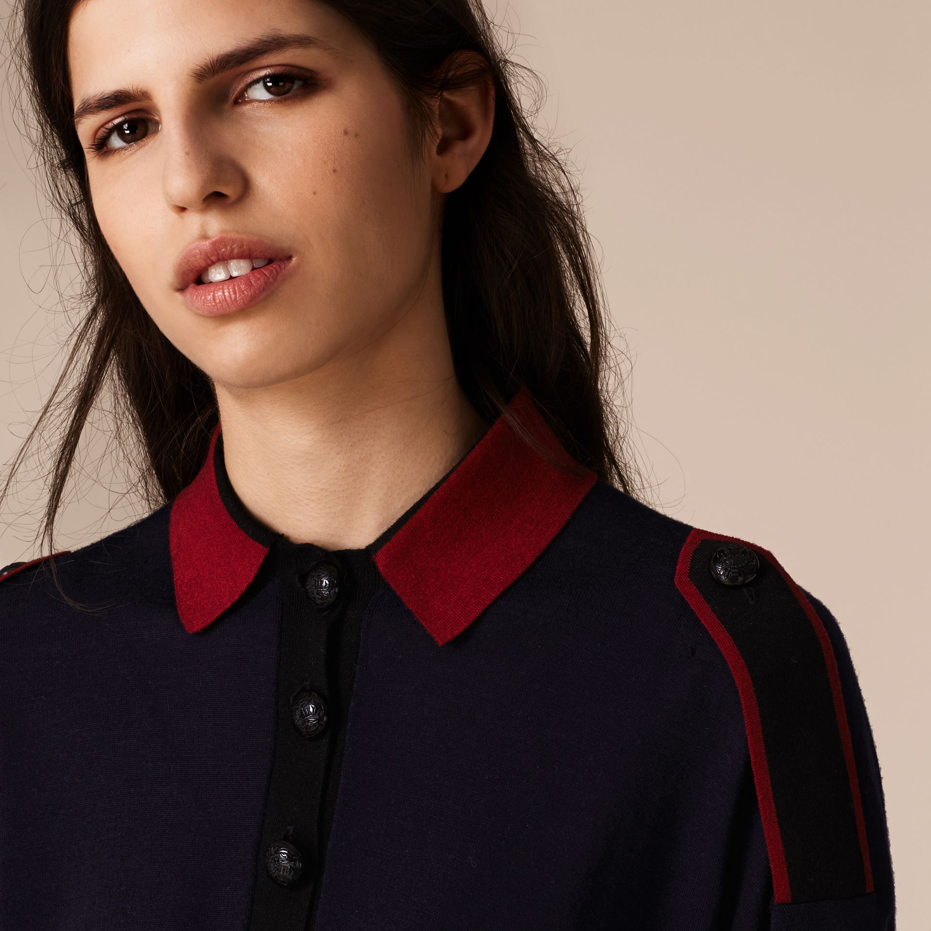 Navy/red Epaulette Detail Wool Polo Shirt - gallery image 3