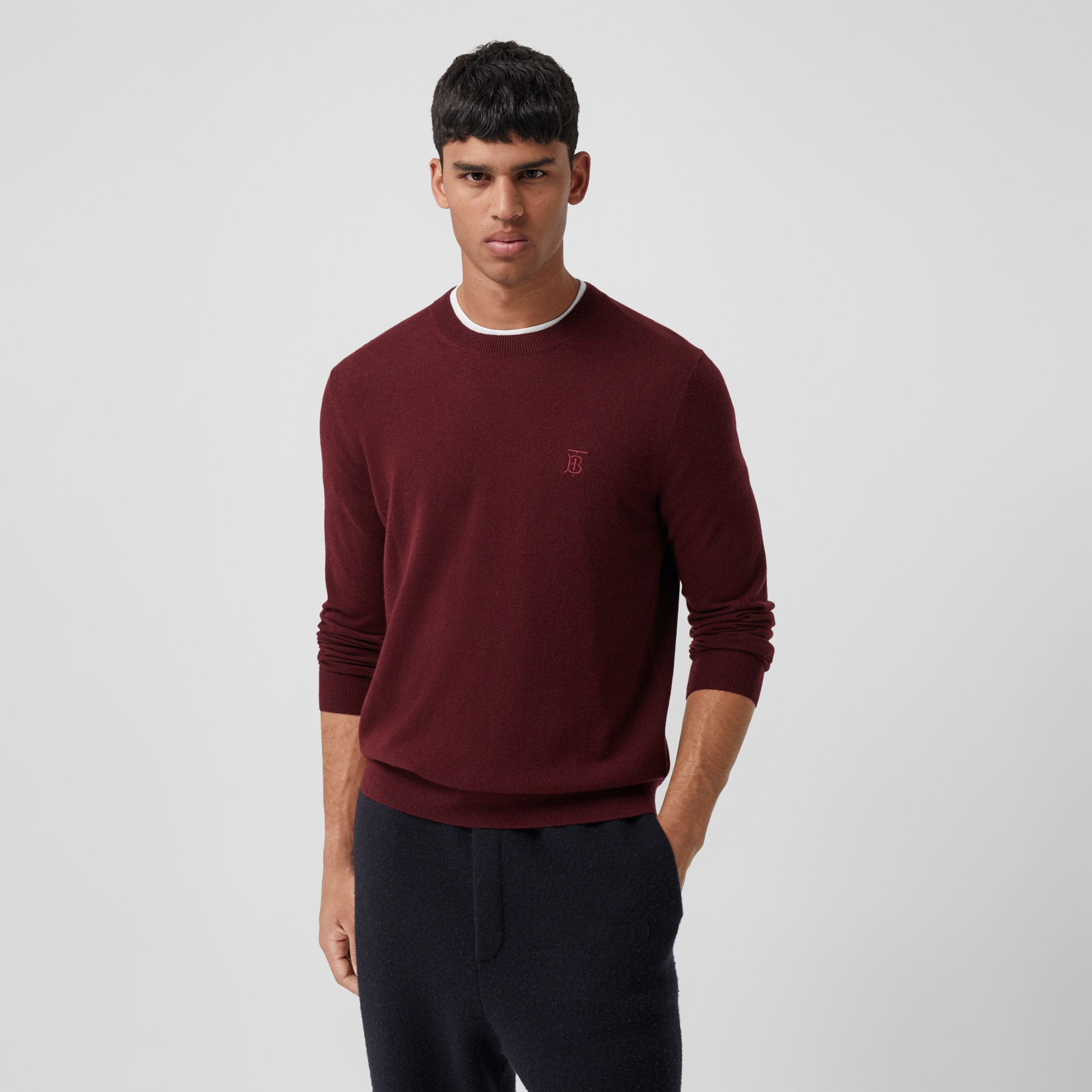 Monogram Motif Cashmere Sweater in Deep Merlot - Men | Burberry - 1