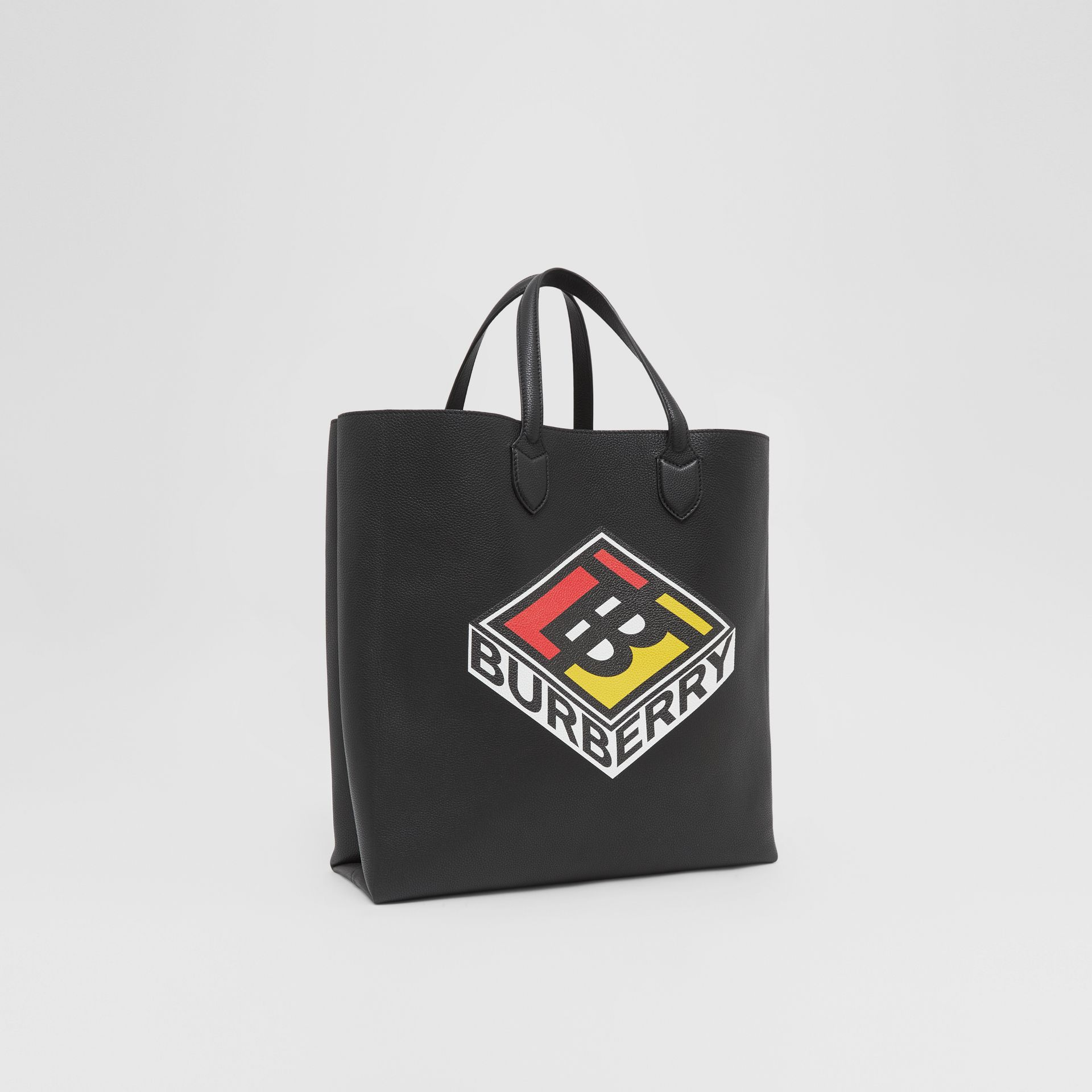 Large Logo Graphic Grainy Leather Tote in Black - Men | Burberry - gallery image 8