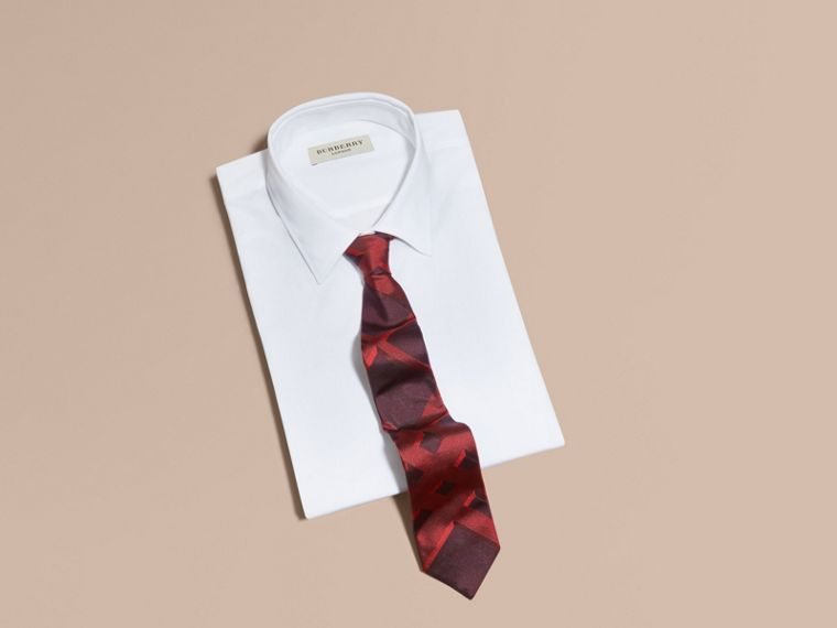 Military red Modern Cut Check Jacquard Silk Tie Military Red - cell image 2