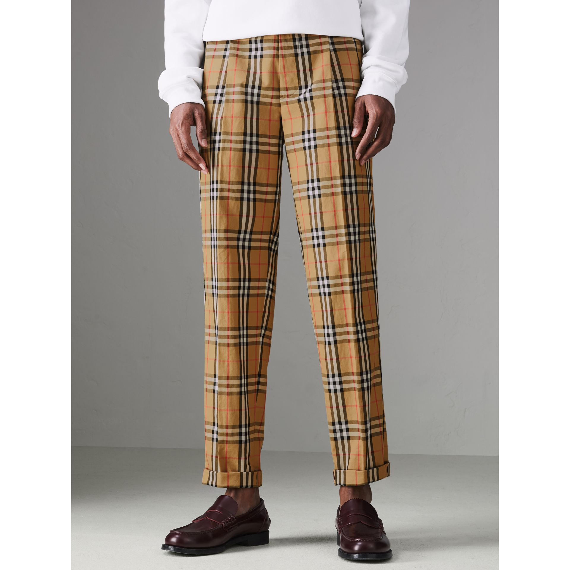 Vintage Check Cotton Trousers in Antique Yellow - Men | Burberry - gallery image 4