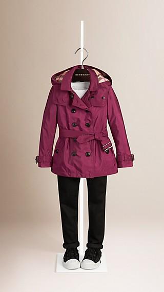 Trench-coat à capuche amovible en tissu technique