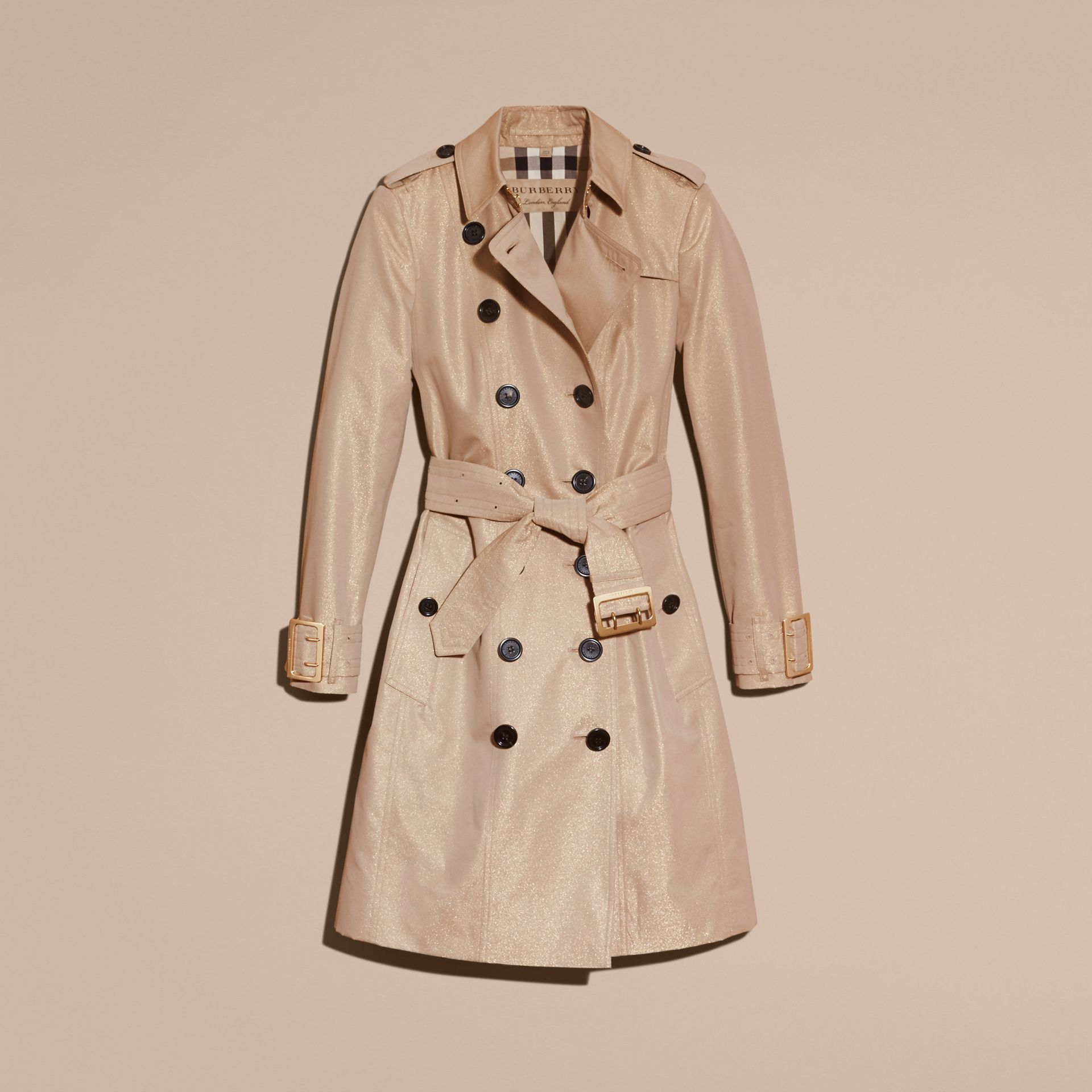 Nude gold Metallic Cotton Gabardine Trench Coat with Oversize Buckle Detail - gallery image 4