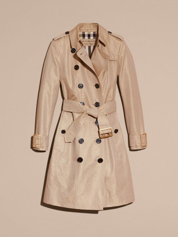 Nude gold Metallic Cotton Gabardine Trench Coat with Oversize Buckle Detail - cell image 3