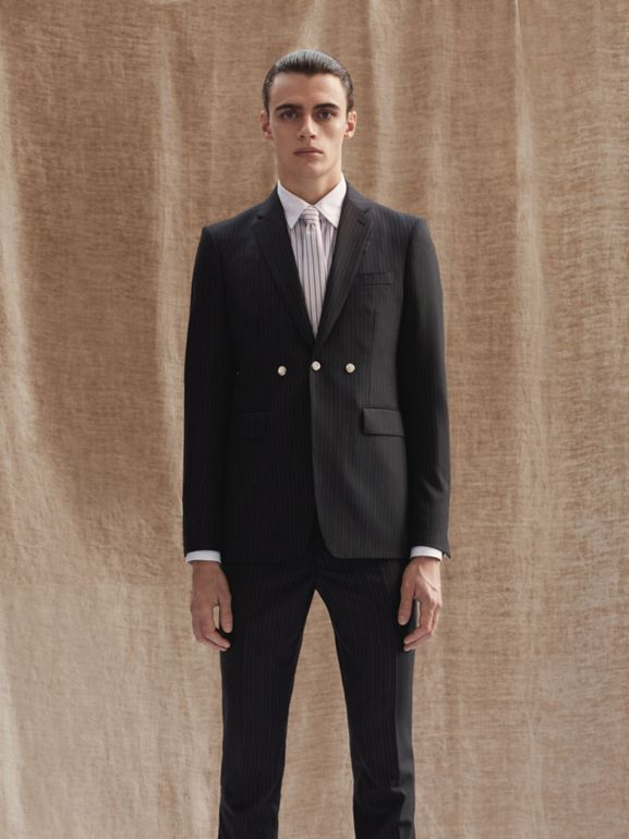 Classic Fit Pinstriped Wool Tailored Trousers in Black - Men | Burberry Canada - cell image 1