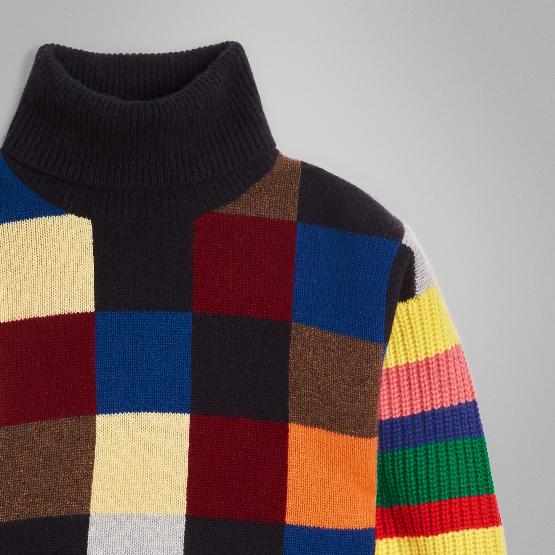 Patchwork Cashmere Roll-neck Sweater in Multicolour | Burberry Singapore - gallery image 5