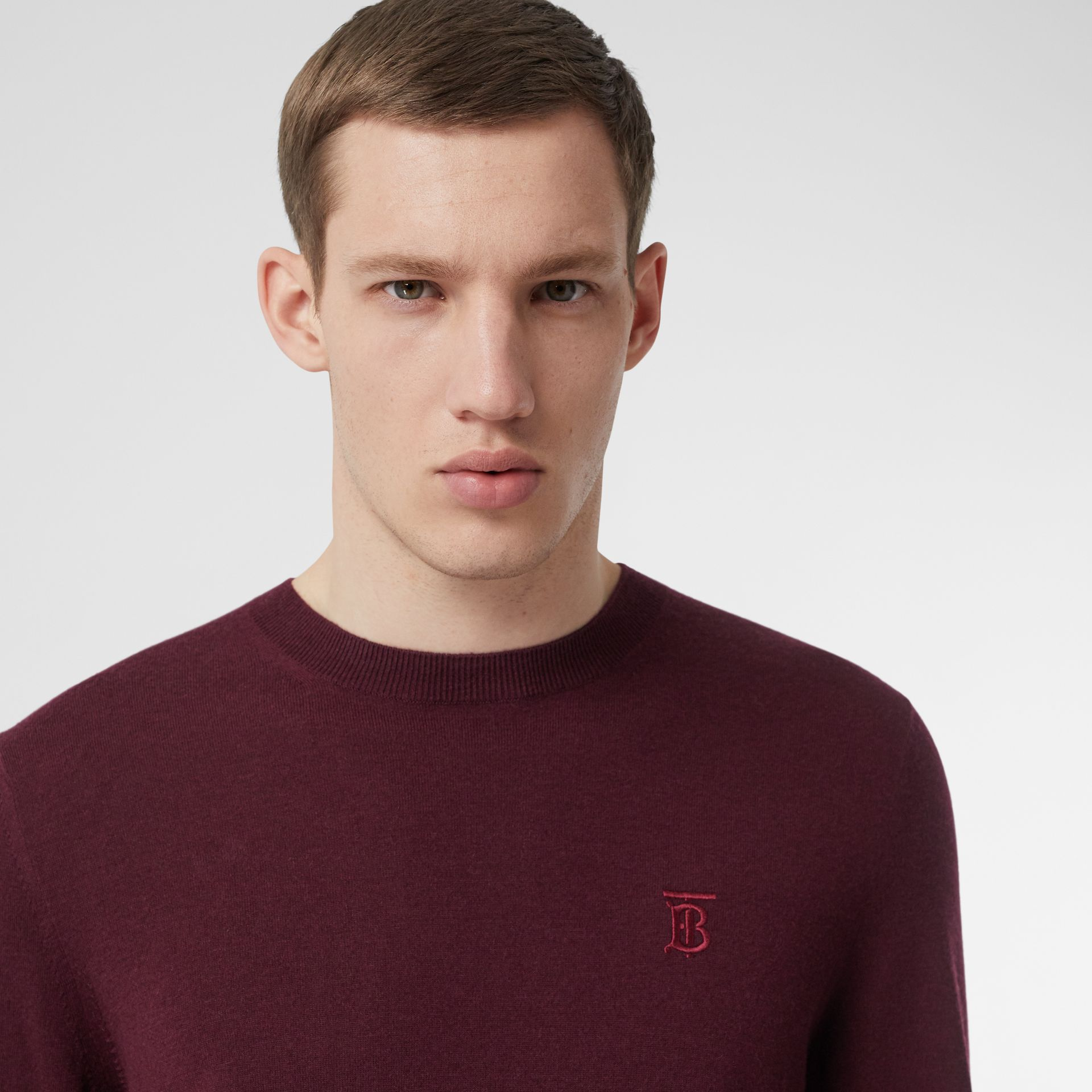 Monogram Motif Cashmere Sweater in Burgundy - Men | Burberry - gallery image 1