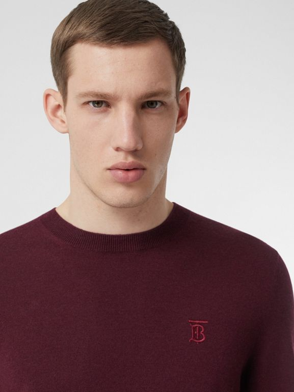 Monogram Motif Cashmere Sweater in Burgundy - Men | Burberry - cell image 1