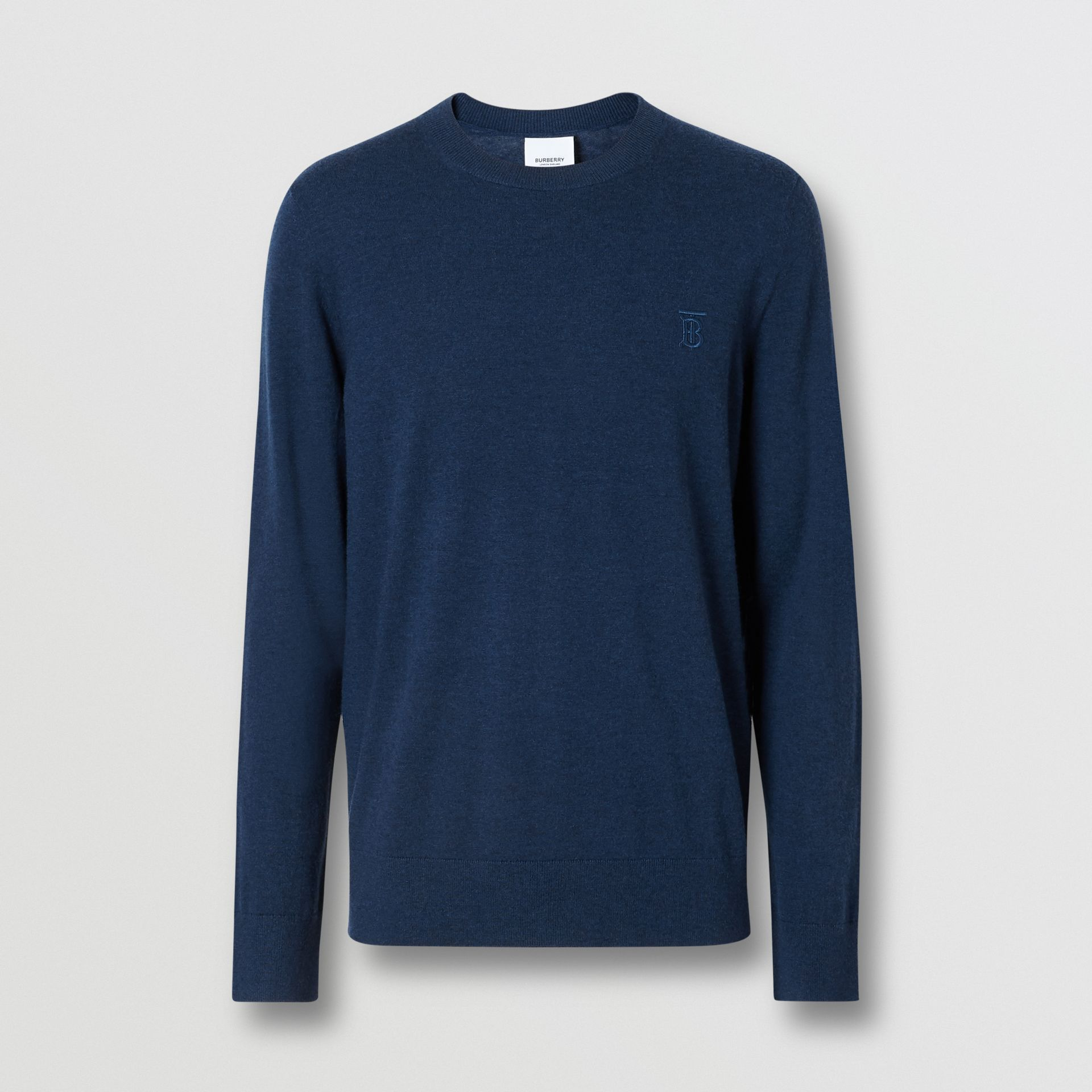Monogram Motif Cashmere Sweater in Uniform Blue Melange - Men | Burberry - gallery image 3
