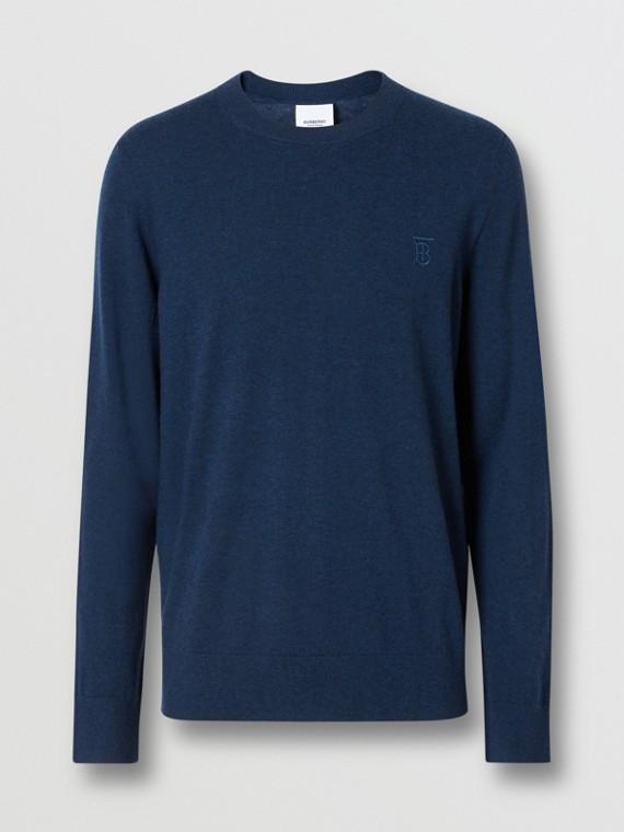 Monogram Motif Cashmere Sweater in Uniform Blue Melange