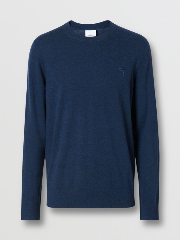 Monogram Motif Cashmere Sweater in Uniform Blue Melange - Men | Burberry - cell image 3