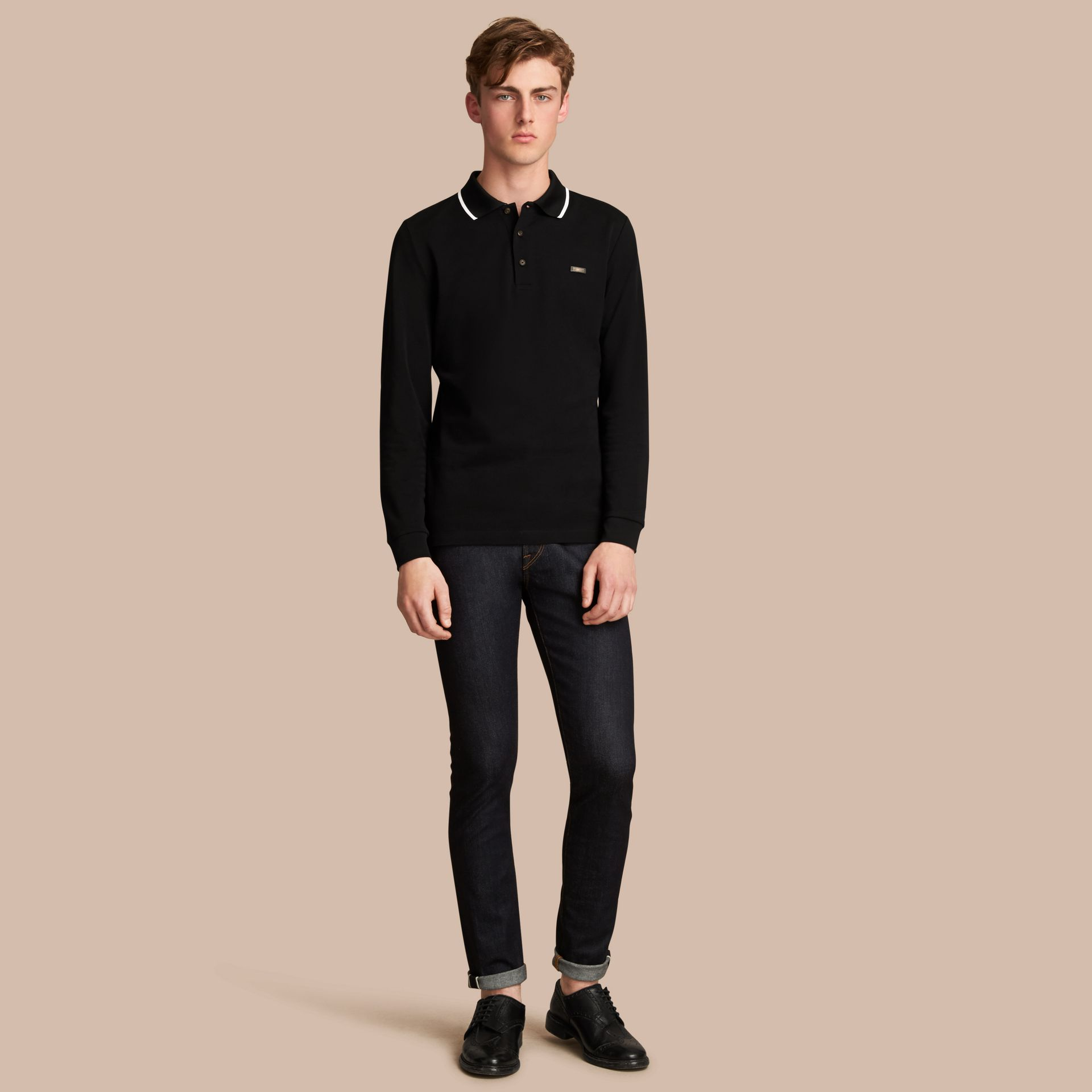 Long-sleeved Tipped Cotton Piqué Polo Shirt Black - gallery image 1