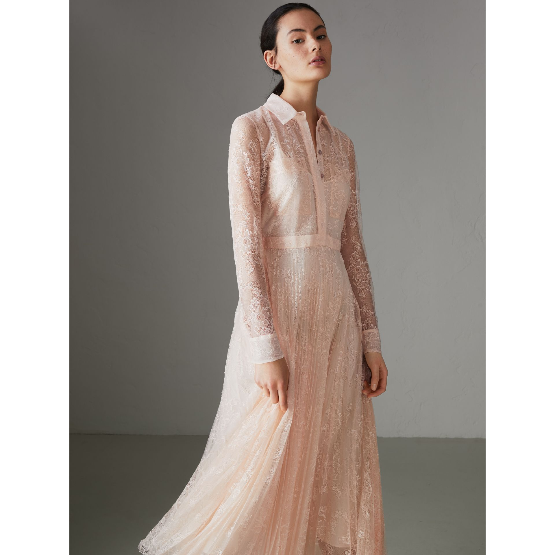 Pleated Lace Dress in Powder Pink - Women | Burberry - gallery image 4