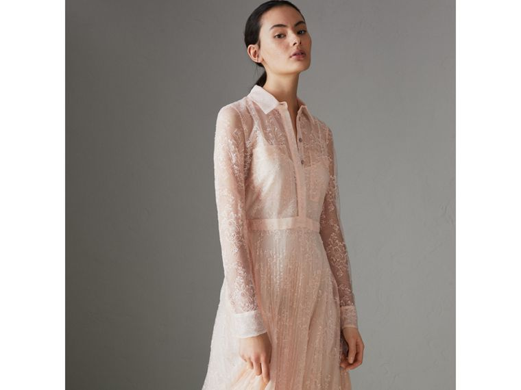 Pleated Lace Dress in Powder Pink - Women | Burberry - cell image 4