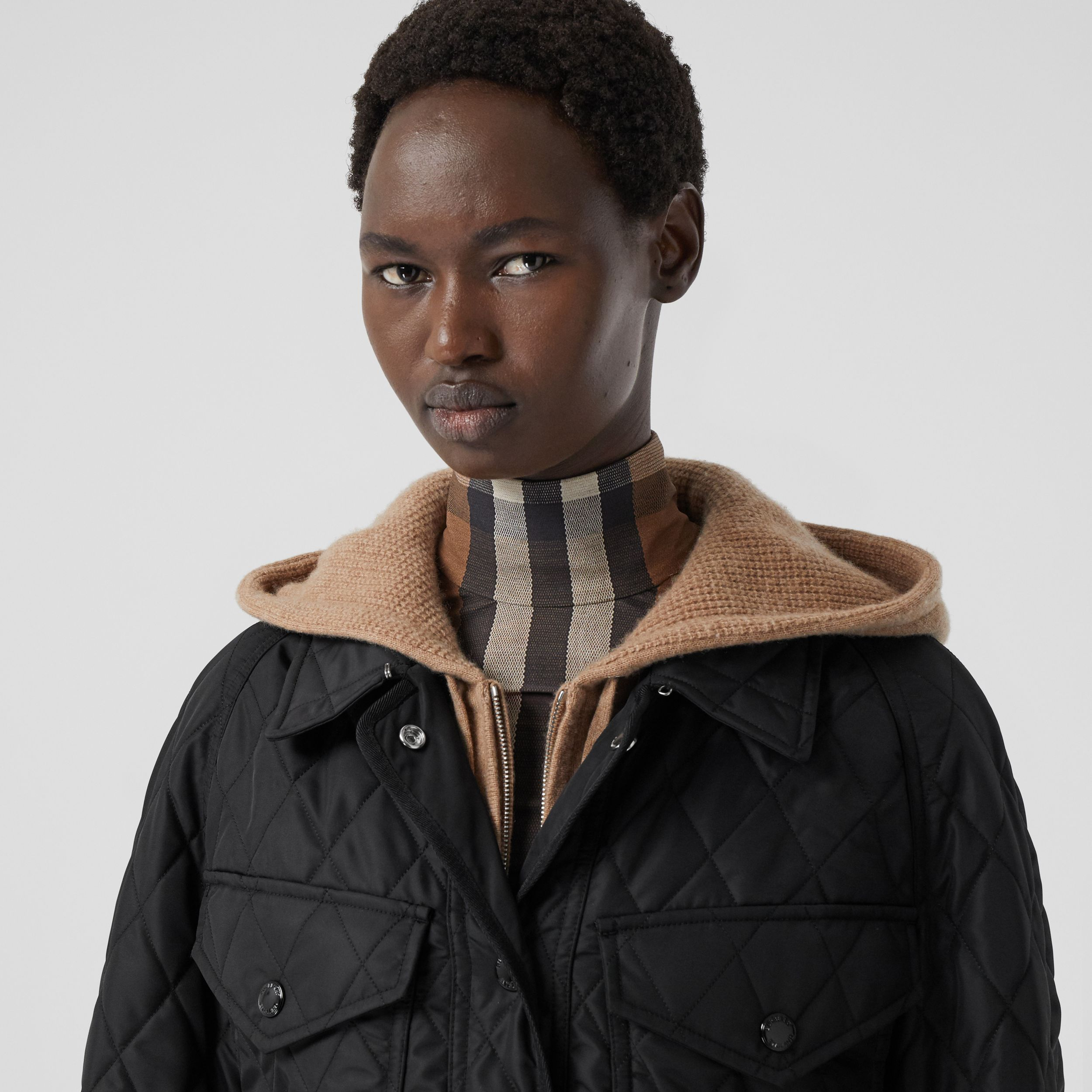 Diamond Quilted Nylon Canvas Field Jacket in Black - Women | Burberry Canada - 2