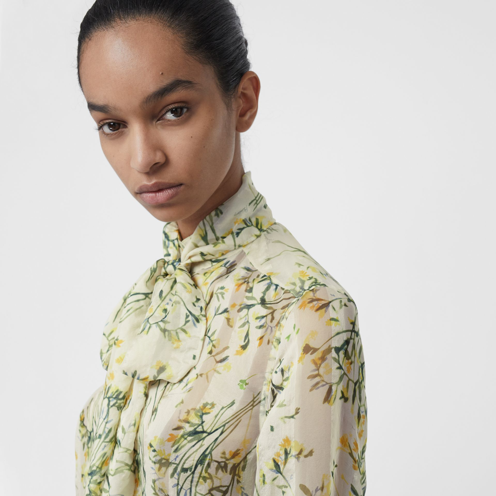 Floral Print Organza Tie-neck Shirt Dress in Lawn Green - Women | Burberry United Kingdom - gallery image 1