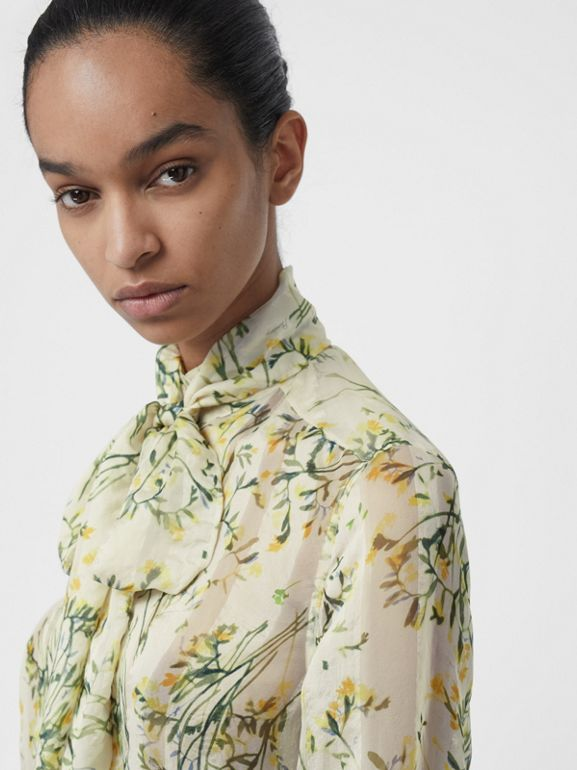 Floral Print Organza Tie-neck Shirt Dress in Lawn Green - Women | Burberry - cell image 1