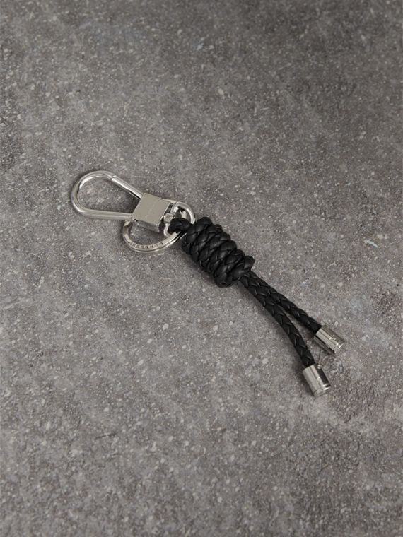 Braided Leather Knot Key Ring in Black - Men | Burberry Australia
