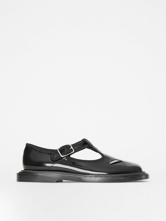 Patent Leather T-bar Shoes in Black