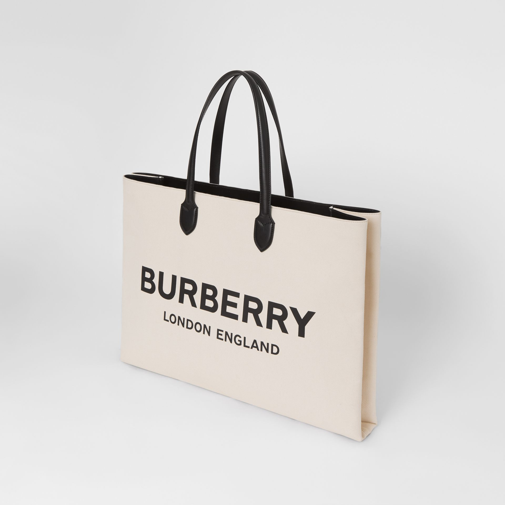 Logo Detail Cotton Blend Tote in Natural | Burberry - gallery image 2