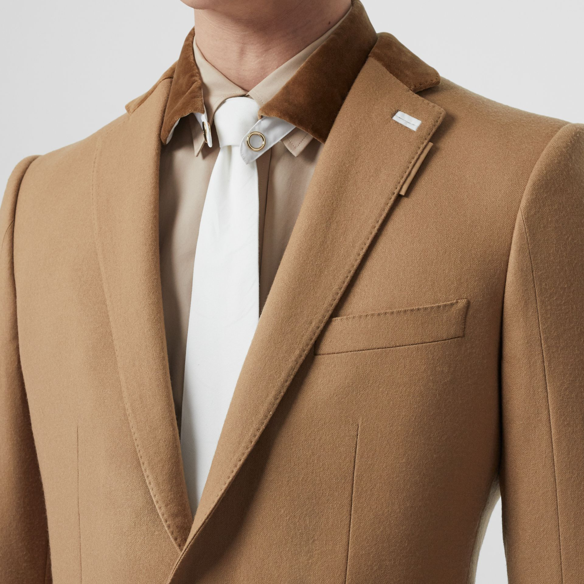 English Fit Velvet Collar Wool Flannel Tailored Jacket in Warm Camel - Men | Burberry - gallery image 1