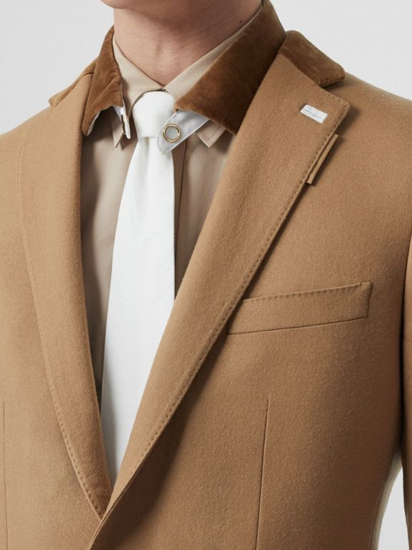 English Fit Velvet Collar Wool Flannel Tailored Jacket in Warm Camel - Men | Burberry - cell image 1