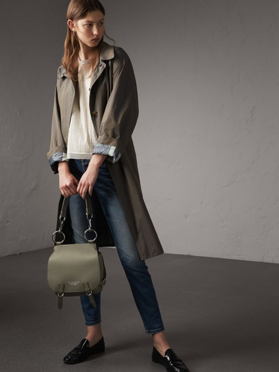 The Bridle Bag in Deerskin in Slate Green - Women | Burberry - cell image 2