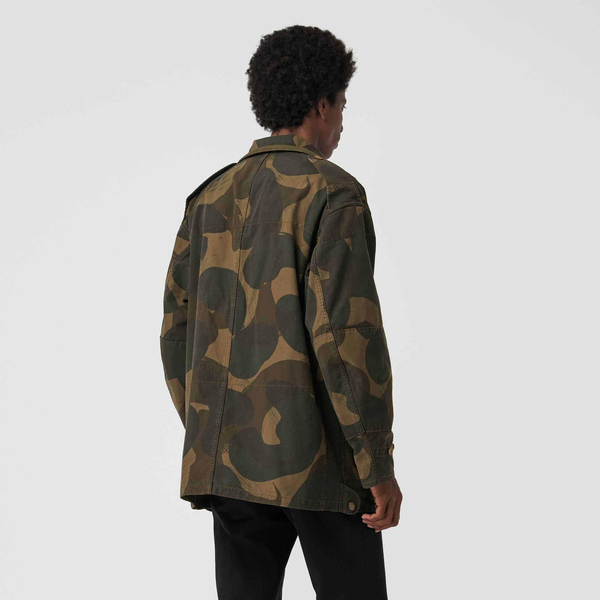 Camouflage Print Cotton Canvas Field Jacket in Khaki - Men | Burberry Australia - gallery image 2