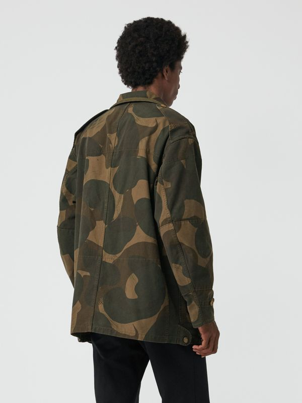 Camouflage Print Cotton Canvas Field Jacket in Khaki - Men | Burberry Australia - cell image 2
