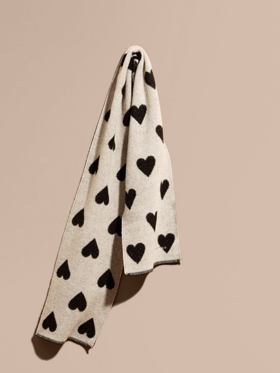 Metallic Heart Print Wool and Cashmere Blend Scarf Stone