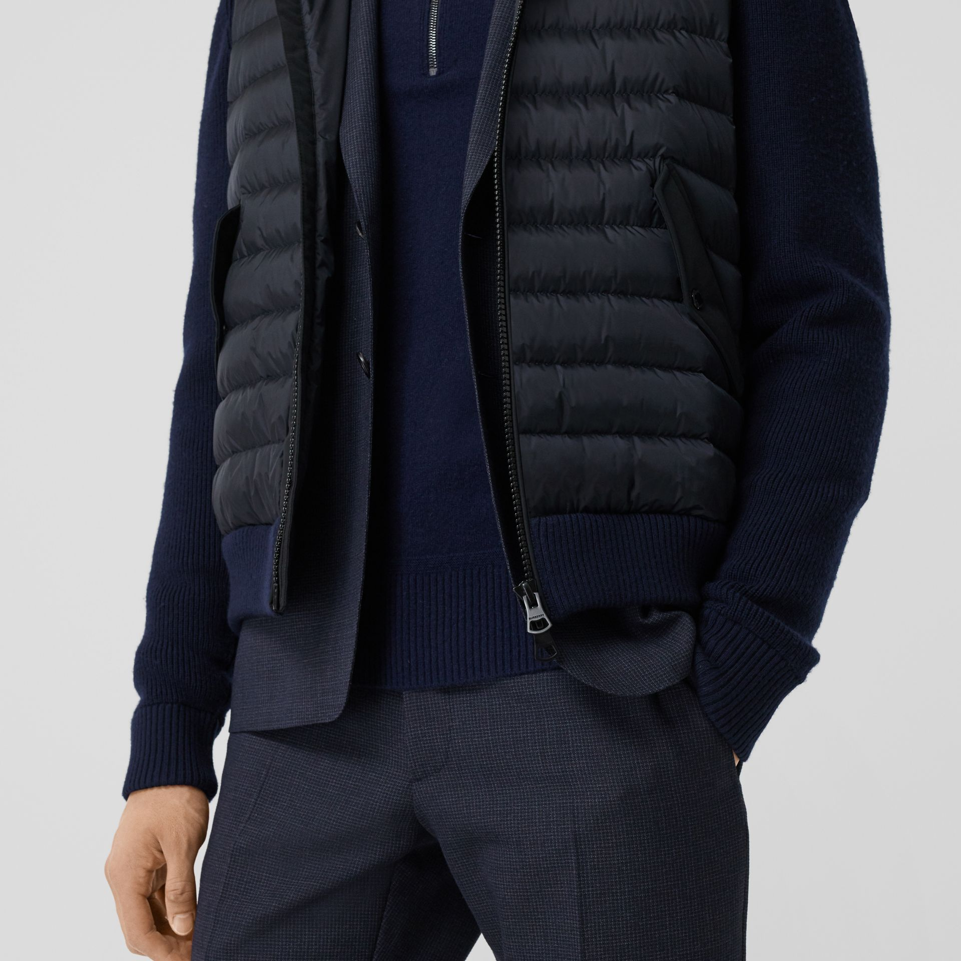 Puffer Detail Technical Knit Hooded Jacket in Navy - Men | Burberry - gallery image 4