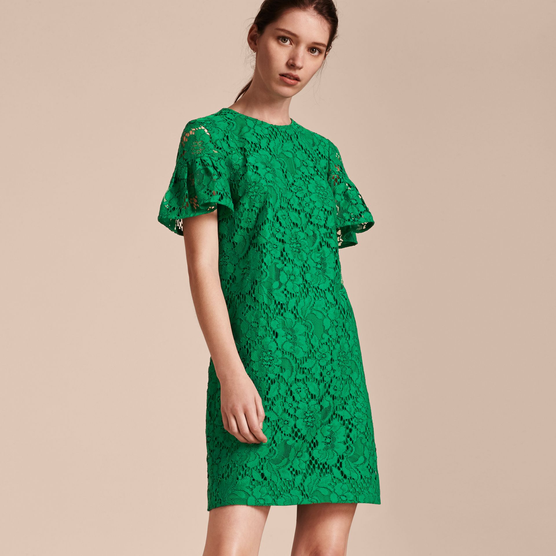 Macramé Lace Short Shift Dress with Ruffle Sleeves Kelly Green - gallery image 6