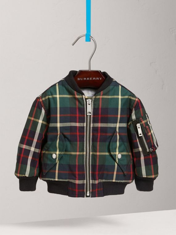 Tartan Padded Cotton Gabardine Bomber Jacket in Racing Green