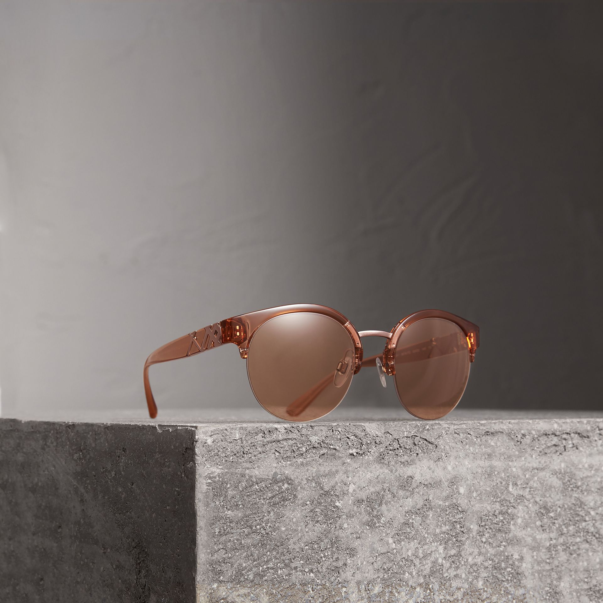 Check Detail Round Half-frame Sunglasses in Sand - Women | Burberry - gallery image 0