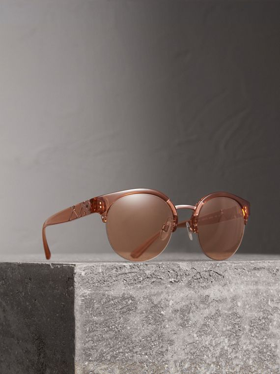 Check Detail Round Half-frame Sunglasses in Sand