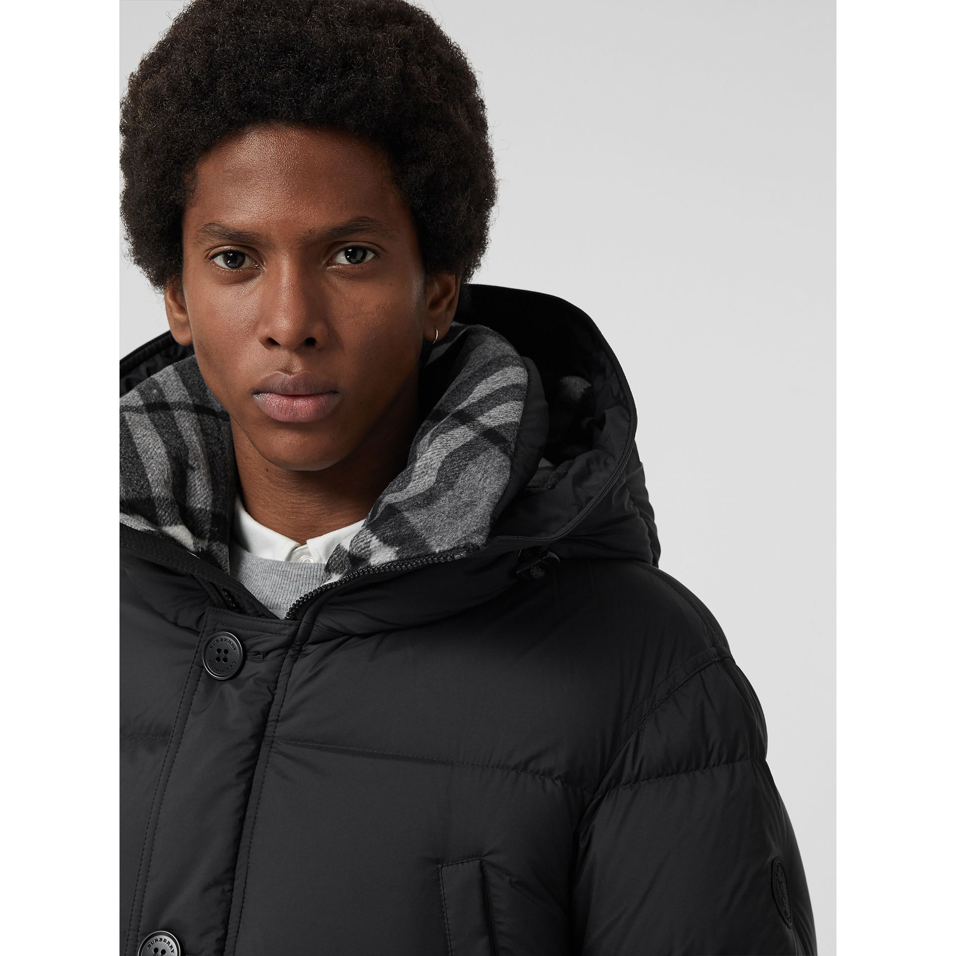 Check Detail Down-filled Hooded Puffer Coat in Black - Men | Burberry Canada - gallery image 1