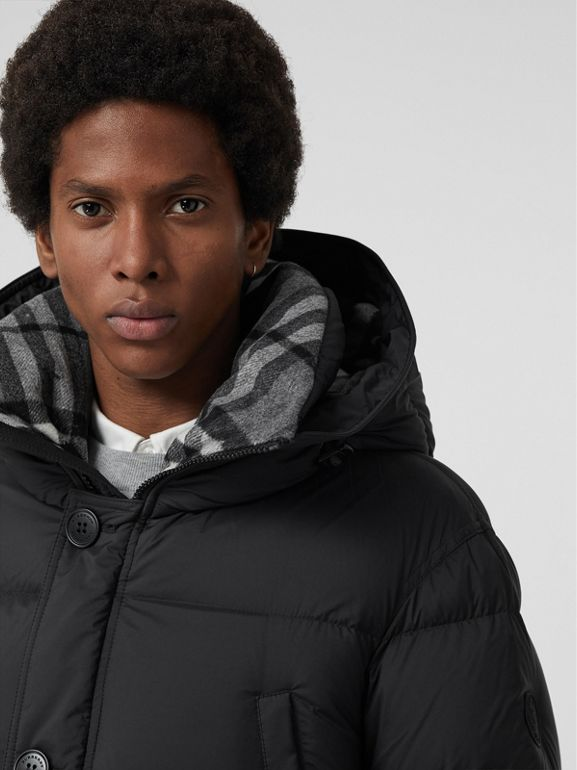 Check Detail Down-filled Hooded Puffer Coat in Black - Men | Burberry - cell image 1